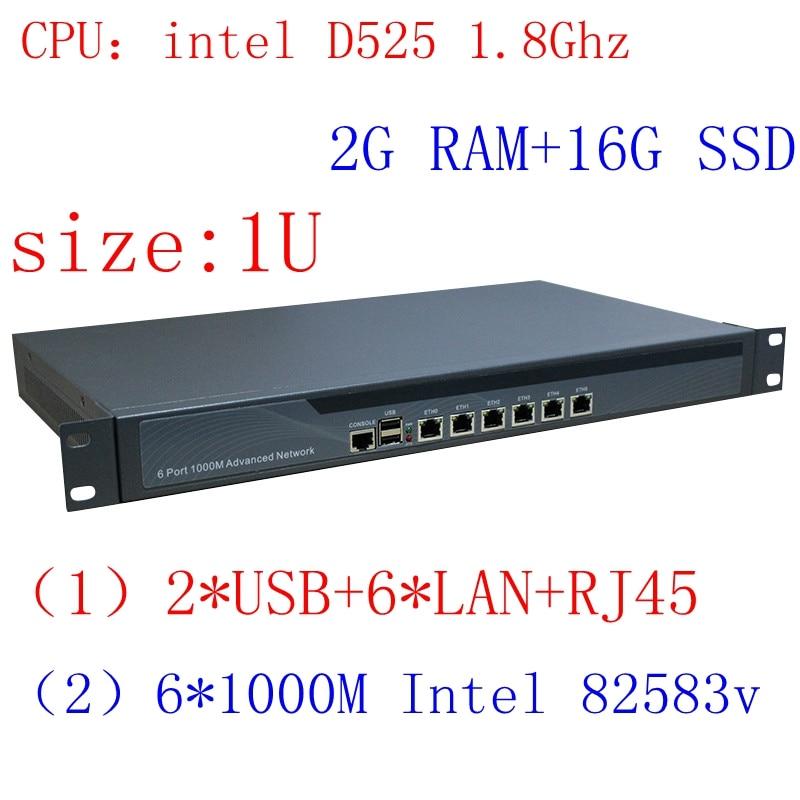 Amiable Intel D525 1u Rack Ears Network Server With 1000m Gigabyte Lan Support Ros Pfsense Panabit Wayos 2g Ram 16g Ssd Computer & Office