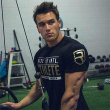T-shirt à manches courtes pour homme, en coton, pour Fitness, musculation, course à pied