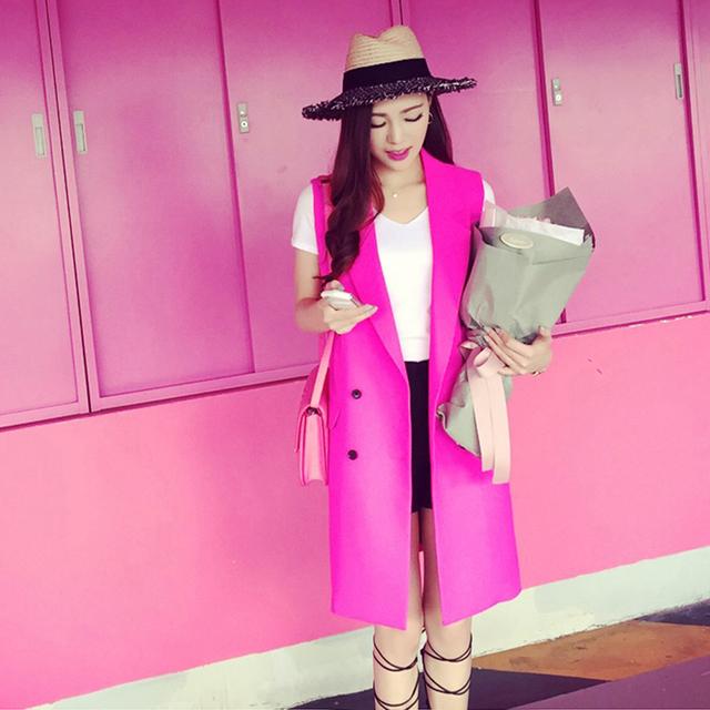 Nueva moda 2016 Pink estilo largo sólido mujeres traje damas doble botonadura chalecos sin mangas chaleco Tops paño femenino