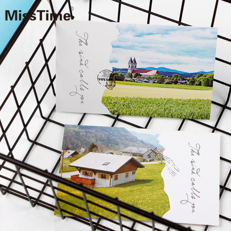 30 Pcsbox The Wind Calls You Rural Landscape Postcard Greeting Card