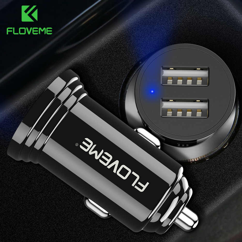 FLOVEME Dual USB Car Charger For Xiaomi mi 8 Lenovo z5 Universal 2.4A 5V Car-Charger For iPhone 7 7 Plus Phone Charger Adapter