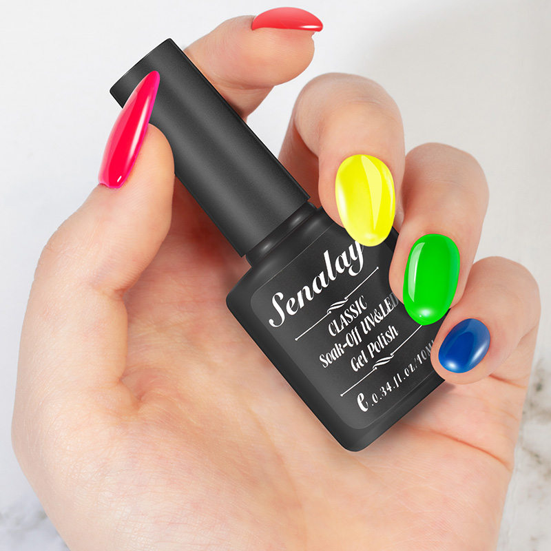10ML Summer Series Colorful Nail Polish Fluorescence Neon Nail Art Nail Varnish Design Yellow Lacquer uv Color Gel Manicure in Nail Polish from Beauty Health