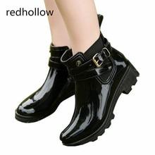 Fashion Rubber Shoes Women Rain Boots for Girls Ladies Walking Waterproof Women Boots Flat Shoes Ankle Martins Woman Rainboots стоимость
