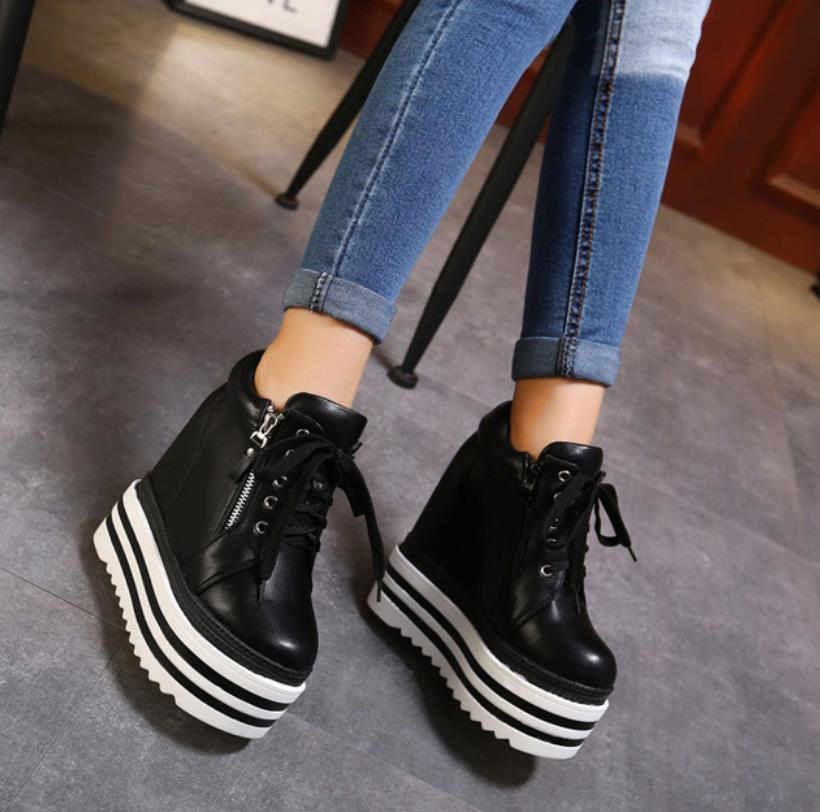 14CM ultra-high slope and waterproof platform pine cake thick bottom autumn winter new inner raised front belt female boots14CM ultra-high slope and waterproof platform pine cake thick bottom autumn winter new inner raised front belt female boots