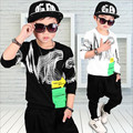 2017 Brand Boy Print Sport Clothing Set  Long Sleeve T shirt+Harem Pants  Boy School Hip hop Fashion Clothing Set Hot Sale