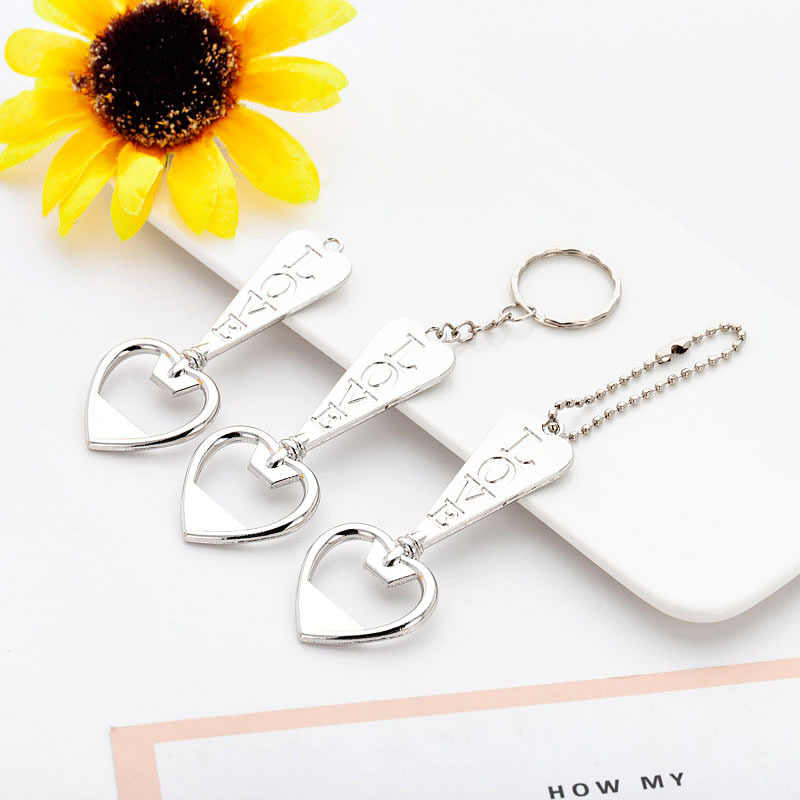 50PCS Wedding gifts for guests Love Heart bottle Opener keychain baptism gift cute giveaway party favor souvenir