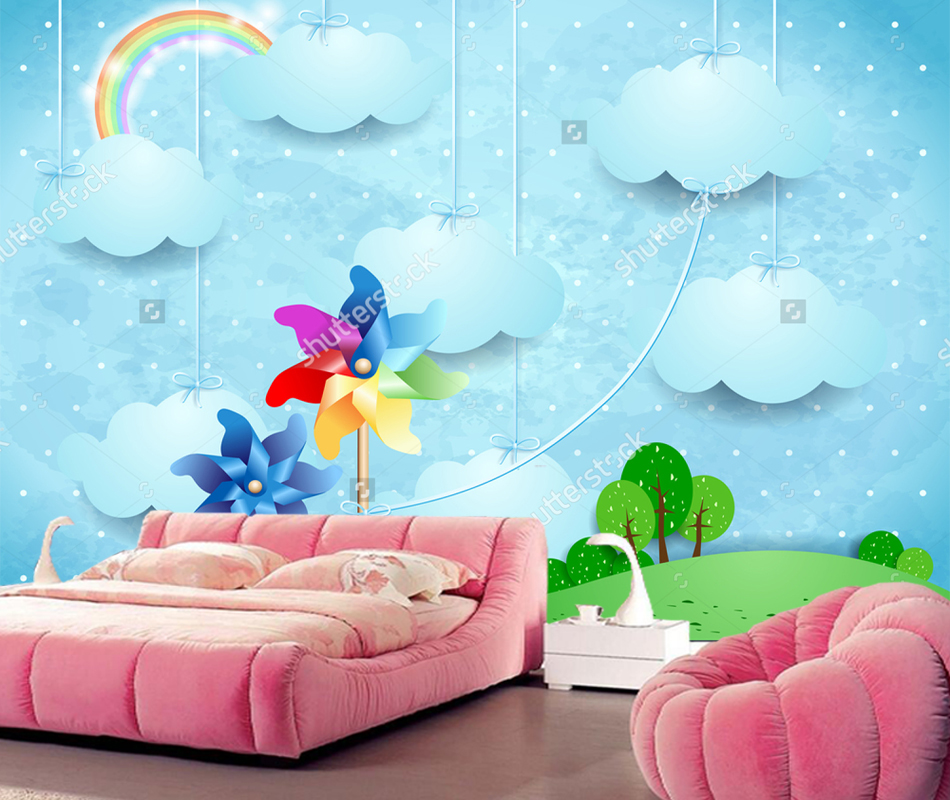 Children Wallpaper Surreal Landscape With Pinwheels And Hanging