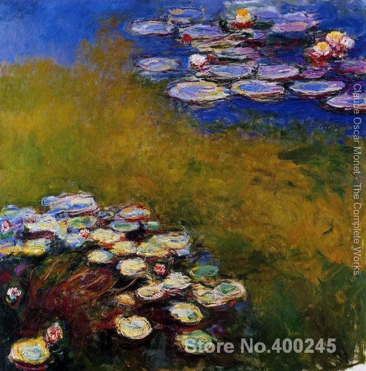 Christmas Gift art on Canvas Water Lilies 32 by Claude Monet Painting High Quality Handmade