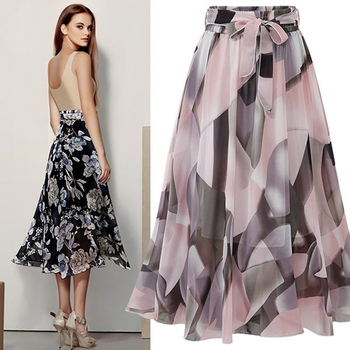 Floral Chiffon Skirts Women Long Skirt High Waist Pleated Summer Femme Elegant Ladies Office Clothes