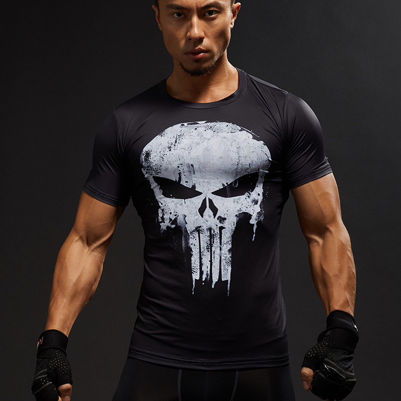 Kompression Tröjor Män 3D-tryckta T-shirts Kortärmad Cosplay Fitness Body Building Man Crossfit Toppar Punk Skull Skeleton