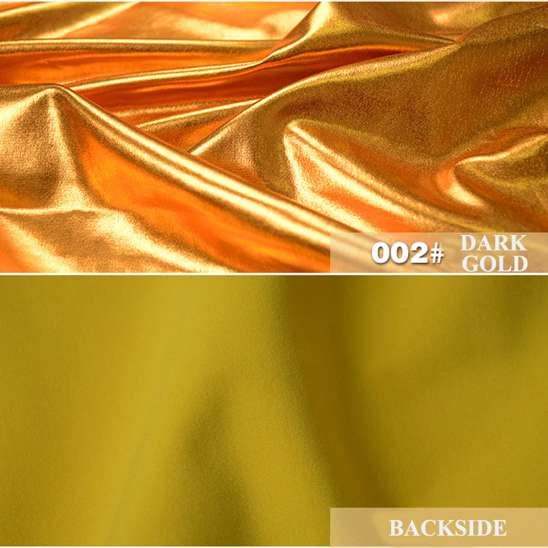 Stretch Metalic Laser Fabric Gold Stamping Polyester Spandex Knitted For Stage Costume Jacket Dress Fashion Cloth in Fabric from Home Garden
