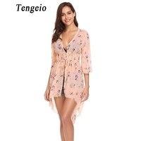 Tengeio Chiffon Mesh Womens Tops And Blouses Floral Print Boho Clothing Summer 3 4 Sleeve Slim