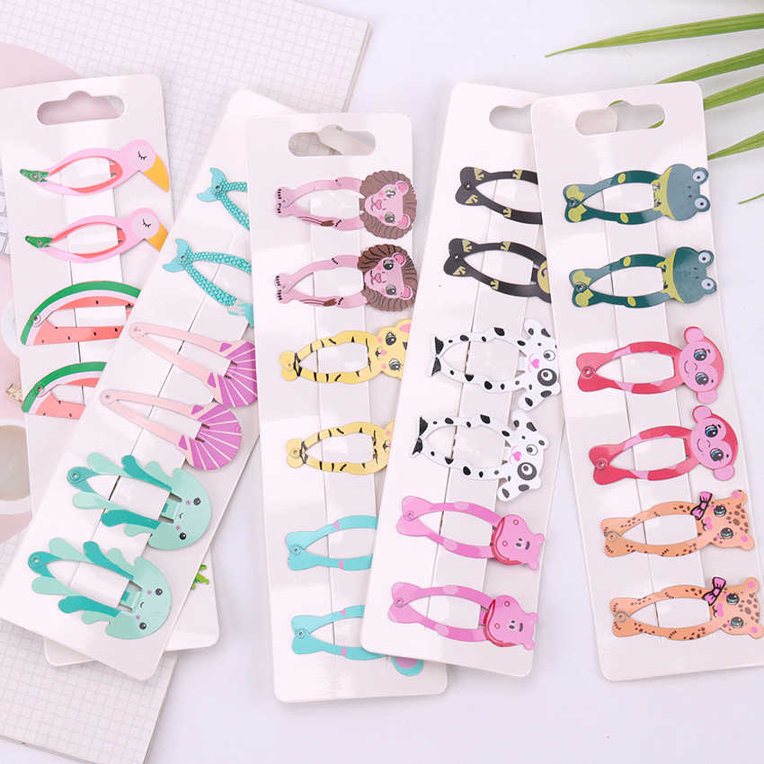 6PCS/Set Fashion Girl Fruits Animals Hairpin Headwear Kids Barrettes Hair Clips Jewelry Snap Clips Children Hair Accessories
