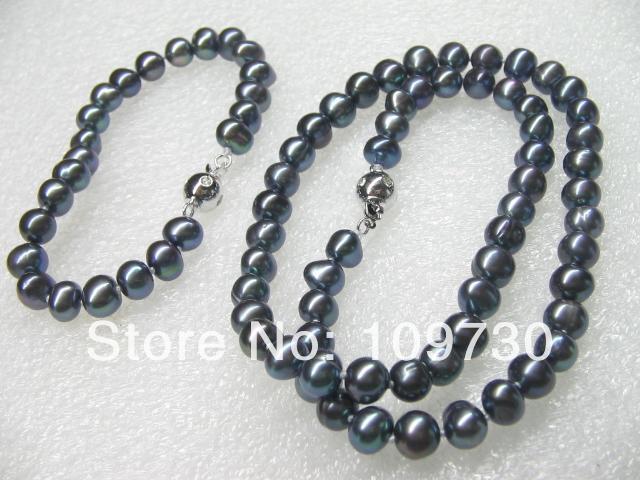 Joyería 00582 venta al por mayor 10 Sets 7 8 mm perlas de agua dulce negro conjunto de collar y pulsera - 2