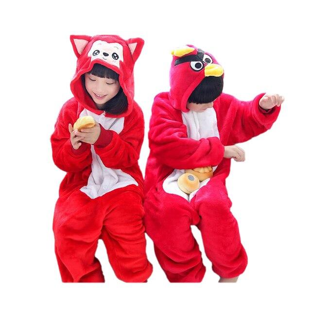 cute kids one-piece pajamas cute Ali angry cartoon birds sleepwear for 3-10yrs children boys girls onesie pajamas night clothes