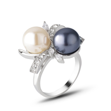 White Gold color Wholesale Fashion Flower Design Ring With &Gray Simulated Pearls And Crystals Finger J00787