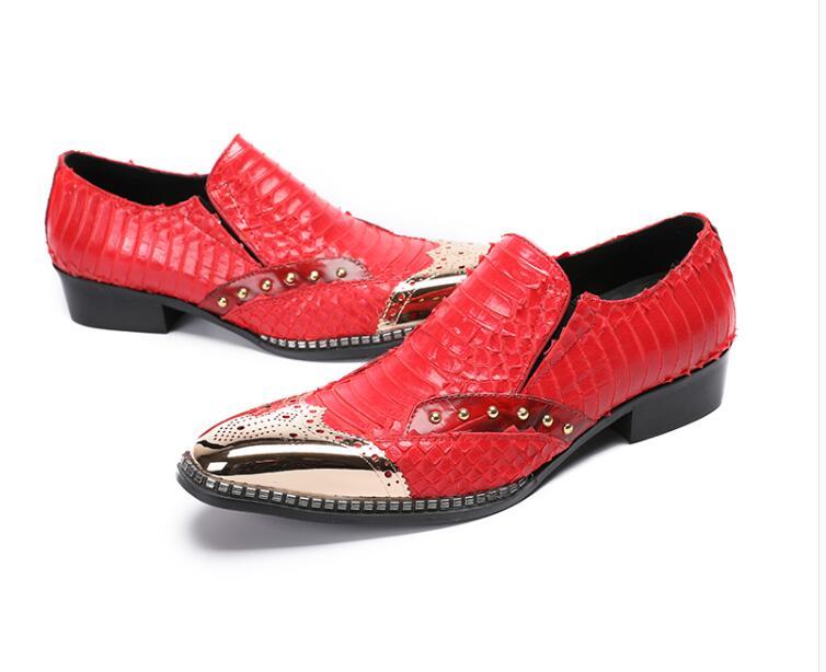 Vestido Oro Rojo Moda Zapatos Negocios Oxfords Cabeza Formal Hombres Hierro La De Tallada Borgues Cuero Boda CPwq1a