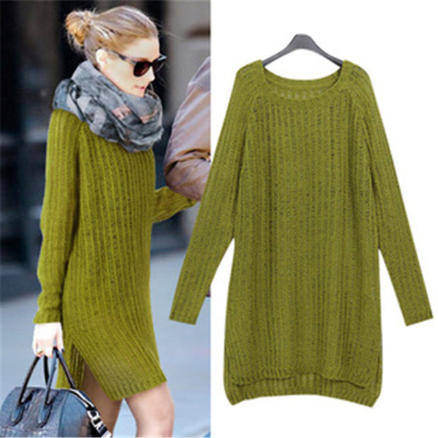 764f50a2c530e Women Knitted Sweater Dress 2015 Autumn Winter Oversized Army Green Sweater  Women Plus Size Long Sweaters