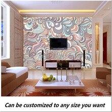 Free shipping custom 3D Swirly Pattern In Colourful Pastels Wall fresco Mural