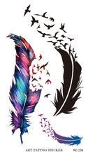Flash Tattoo Sticker Colorful Geese Feathers Pattern Body Art Temporary Fake Tattoo Stickers Waterproof