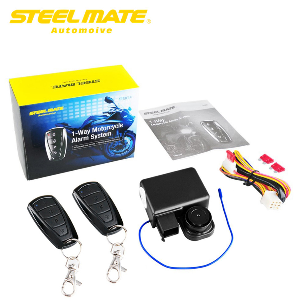 Steelmate 986F 1 Way Motorcycle Alarm System, Remote Engine Start, Motor Engine, Immobilization With Transmitter