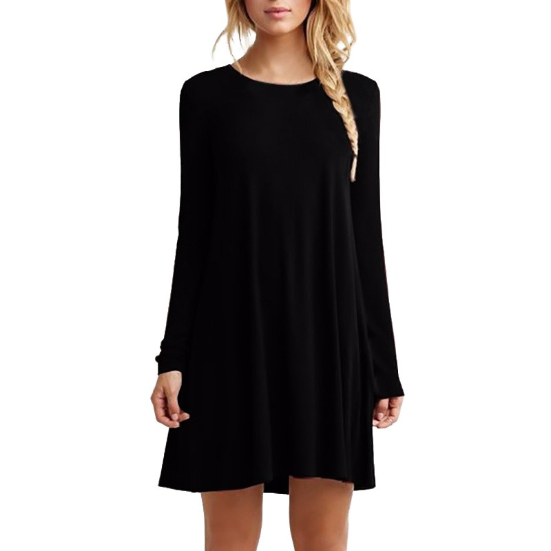 Las mujeres de manga larga casual loose negro dress otoño invierno sexy plisado