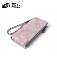 BENVICHED 2017 High Capacity Fashion Women Wallets Long Dull Polish Retro PU Leather Wallet Clutch Coin