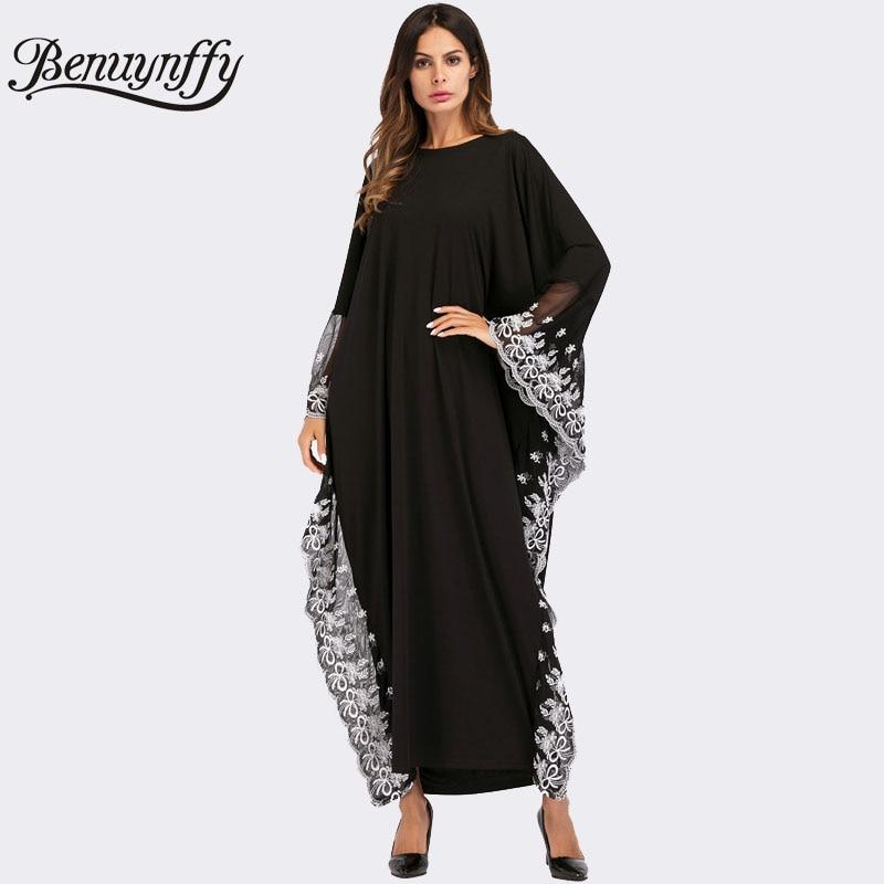 Benuynffy Plus Size Mesh Lace Fringe Casual Long Dress 2018 Women Loose O neck Batwing Sleeve Kaftan Oversized Maxi Dress
