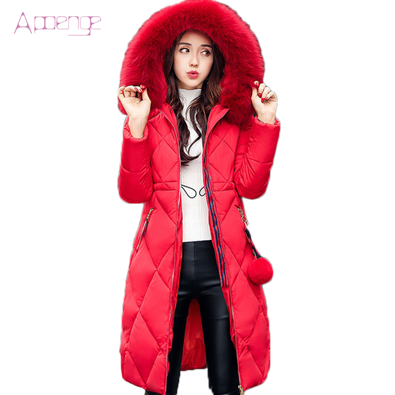APOENGE Fashion Female Long Parka With Fur Collar 2017 New Women Hooded Coat Winter Warm Clothes Long Jacket Chaqueta LZ374 2017 winter new clothes to overcome the coat of women in the long reed rabbit hair fur fur coat fox raccoon fur collar