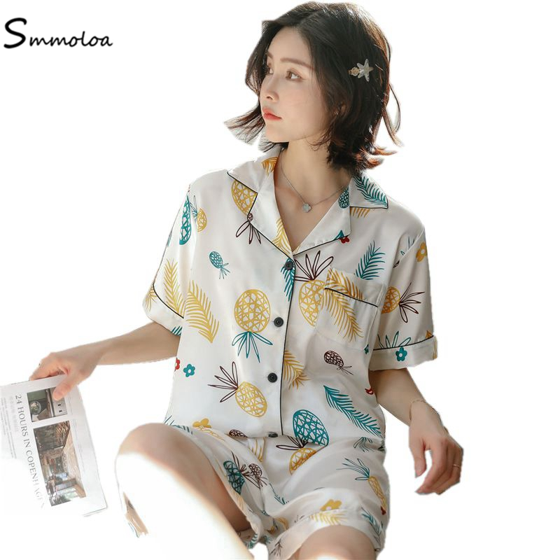 Smmoloa 2019 Summer Style Women Satin Silk   Pajamas     Sets   Shorts Print Sleepwear