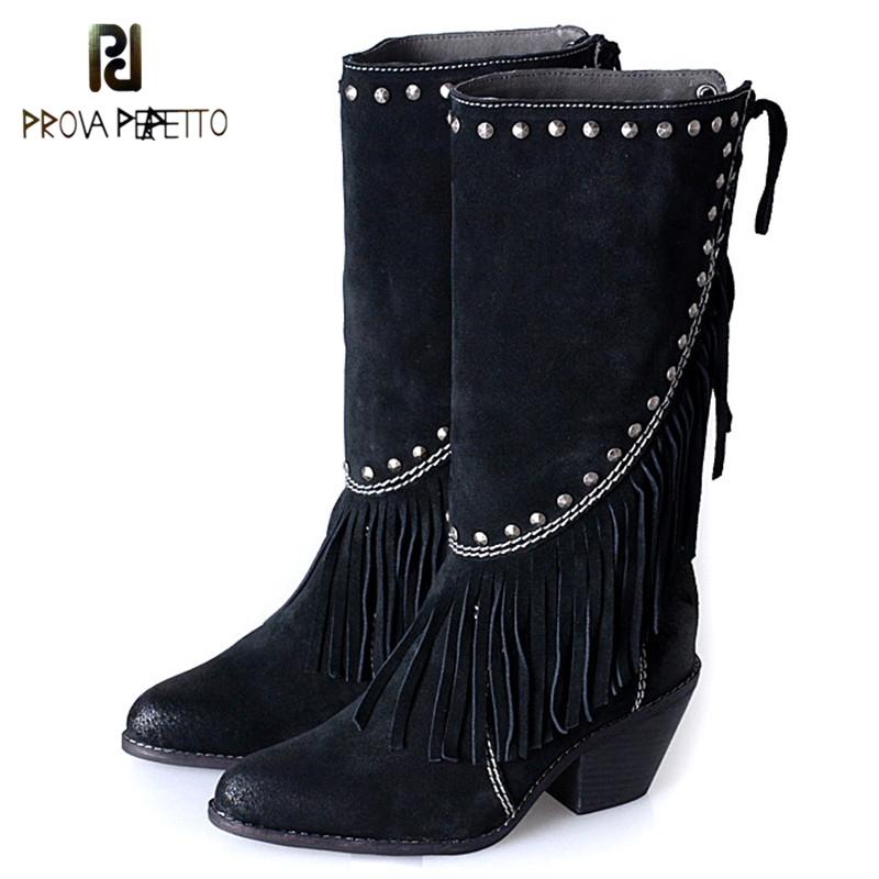 Prova Perfetto Knight Style Tassels Rivets Bordered Women Mid-Calf Boots Cow Leather Fashion Point Toe Spike High Heel Boots prova perfetto fashion round toe low heel mid calf boots feminino buckle belt thick bottom genuine leather women s martin boots