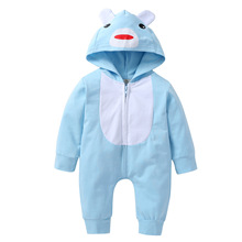 Baby Boy Onesie Long Sleeve Cotton Clothes for Girl Spring Kids Cartoon Animal Print Hooded Romper