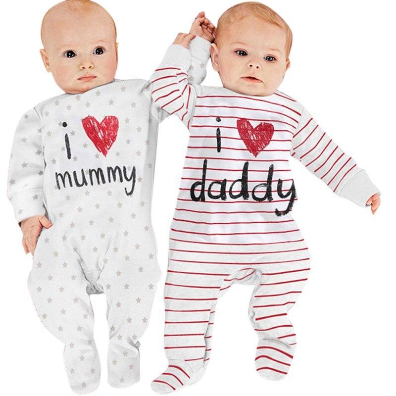 Смешно новорожденного ребенка дети хлопка с длинным рукавом Комбинезоны для малышек люблю мама папа Комбинезоны для женщин одежда P1