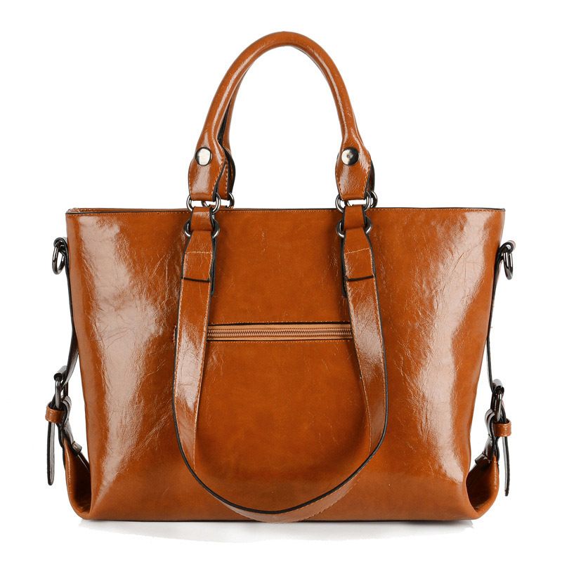 Vintage Women Shoulder Bag Oil wax Leather Large Capacity Female Causal Totes For Daily Shopping All-Purpose Ladies Large Bolsos women oil wax leather handbags new designer fashion ladies shoulder bag cowhide women daily bags large capacity shopping bag