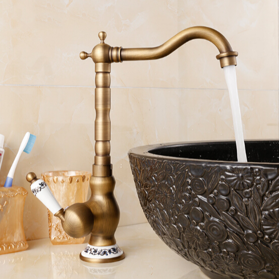 New Arrive Deck Mounted Single Handle Bathroom Sink Faucet Antique Brass Hot and Cold Water Basin Faucet brand new deck mounted chrome single handle bathroom