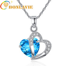 2019 Sell Like Hot Cakes 6 Colors Top Class Lady Fashion Heart Pendant Necklace Crystal Collares New Girls Women Gothic Jewelry(China)