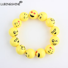LUBINGSHINE Yellow Emoji Cartoon Funny Happy Face Bracelet Cute Jewelry Stretch Elastic Emotions Bracelet Bangle For Children(China)