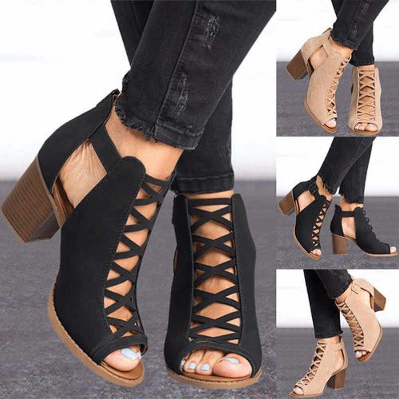 Năm 2019 Thời Trang Giày Sandal Nữ Mùa Hè Mới Nóng Nữ Miệng Cá Tiếp Xúc Cao Giày Xăng Đan Kiểu La Mã Nữ Da Lộn
