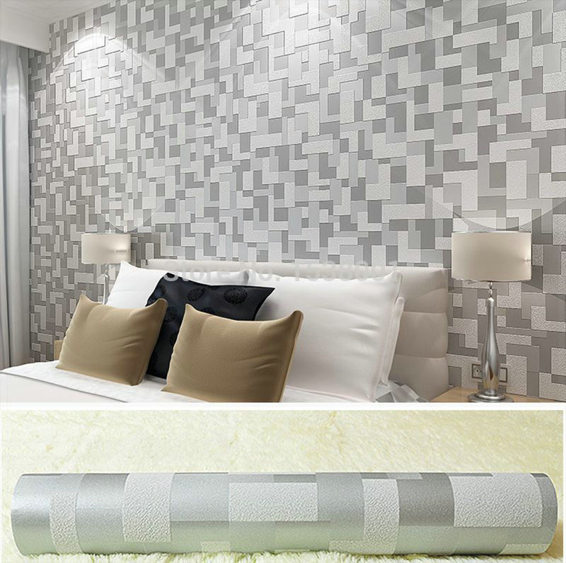 Non Woven Embossed 3D Stereoscopic Wallpaper Gray Simple