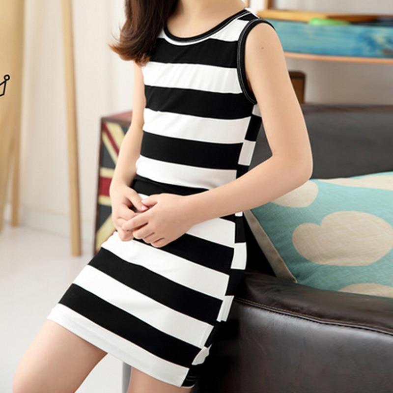 Hot-Sale-Children-Girls-Clothing-Black-And-White-Stripes-Summer-Girl-Dress-100-Cotton-3-14-Kids-Vest-Dresses-for-Teenage-Girls-3