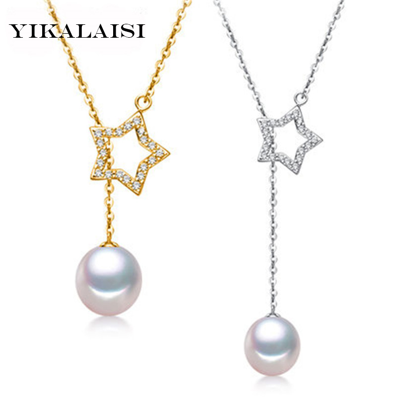 YIKALAISI 925 Sterling Silver Natural Mutiara Air Tawar Lucky Star Kalung Liontin Fashion Jewelry Untuk Wanita 9-10mm Mutiara