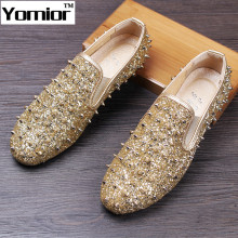 Fashion Men Genuine Leather Rivet Sequins Loafers Slip-on British Casual Loafers Party Wedding Dress Formal Shoes Men's Flats