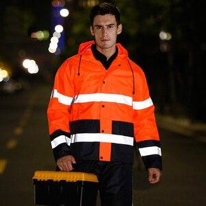 Image 4 - Orange safety rain jacket reflective Polyester Waterproof  rain suit workwear New free shipping