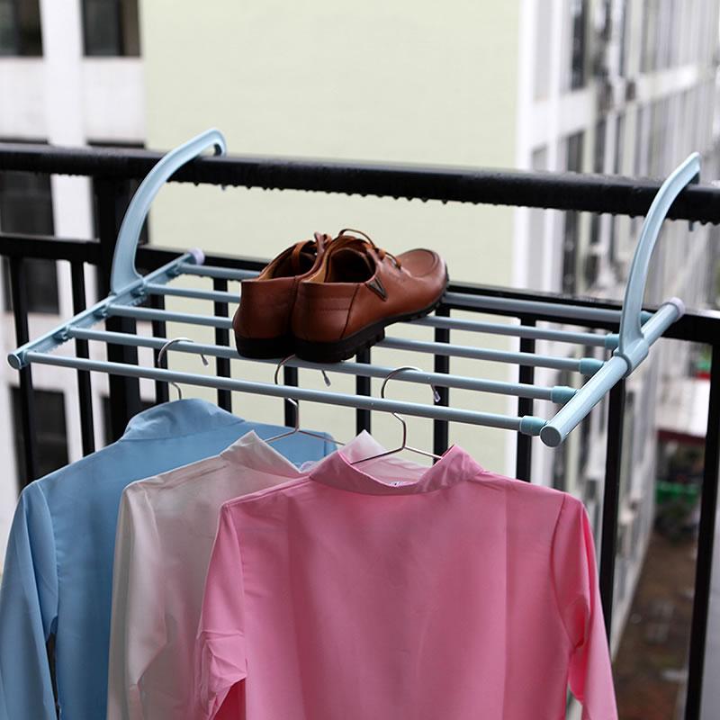 Telescopic Balcony Indoor And Outdoor Drying Racks Hanging Clothes Shelf Dry Sand Racks With Towel Rack ABS Storage Racks