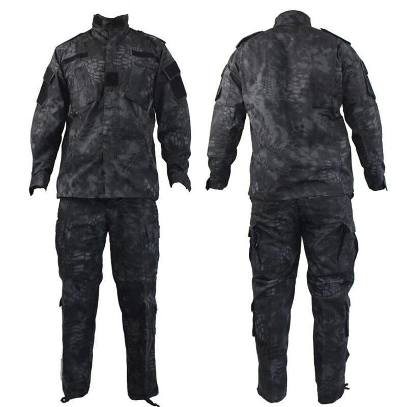 Hommes Ghillie costumes US militaire ACU armée coton Polyester hommes noir Python Camouflage uniforme tactique Combat Camo uniformes 1 ensemble