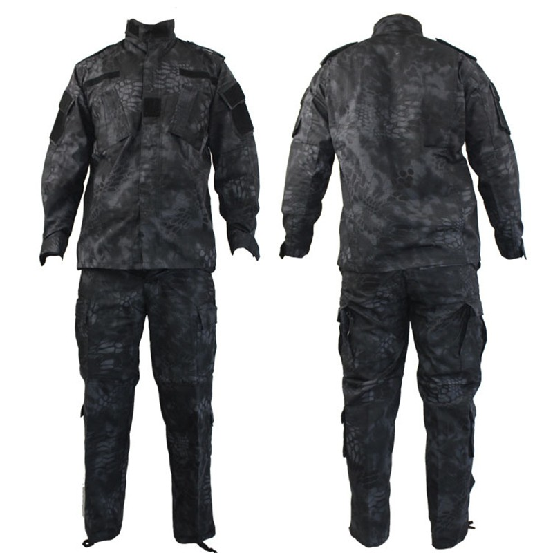 Mens Ghillie Suits US Military ACU Army Cotton Polyester Men Black Python Camouflage Uniform Tactical Combat Camo Uniforms 1 Set us army digital desert camo bdu uniform set war game tactical combat shirt pants ghillie suits