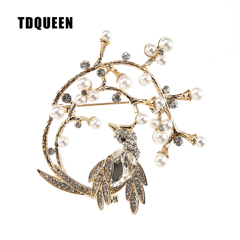 TDQUEEN Brooches Trendy Crystal Bird Pins and Brooches Safety Pin Jewelry Gold-color Zinc Alloy Round Metal Brooch for Women