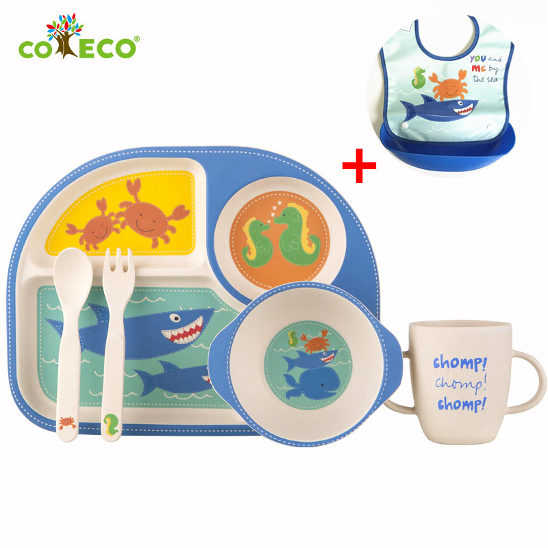 6pcs/set Bamboo fiber baby feeding cartoon baby food container Health environmental baby plate set
