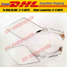 motorcycle partsMotorcycle Diamond Flame Stem Mirrors for   Davidson or metric Bike Chromed