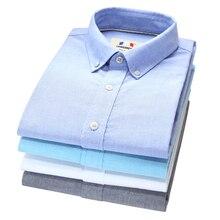 Langmeng plus size 5XL 100% cotton mens oxford shirt men dress shirts fashion summer short sleeve male white blue slim fit